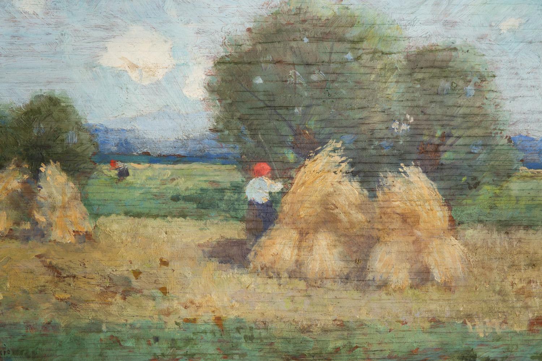 Praca Edmunda Cieczkiewicza malowana na sklejce; widoczne liczne spękania powierzchni podobrazia.