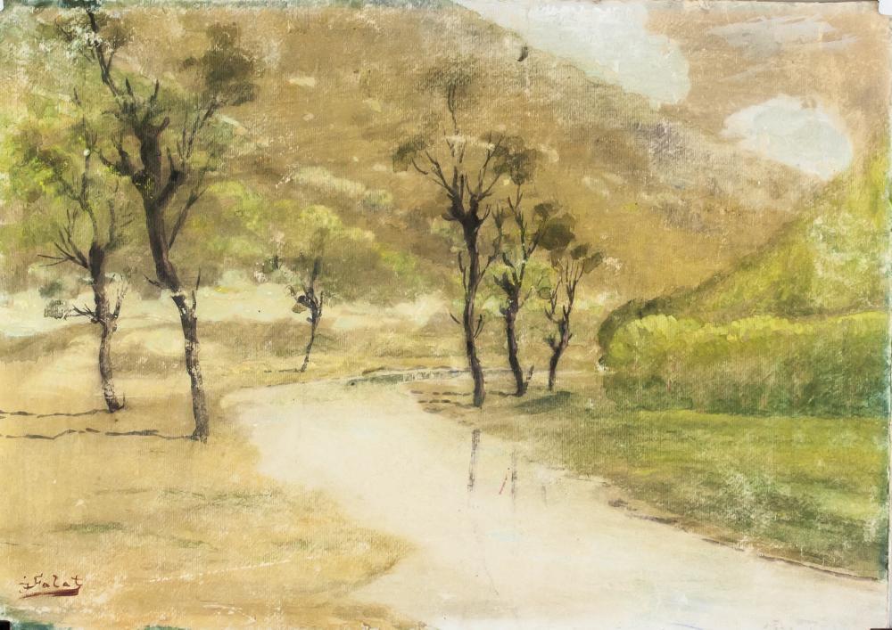 """Julian Fałat (1853-1929) """"Pejzaż z rzeką"""", źródło: 888 Auctions"""