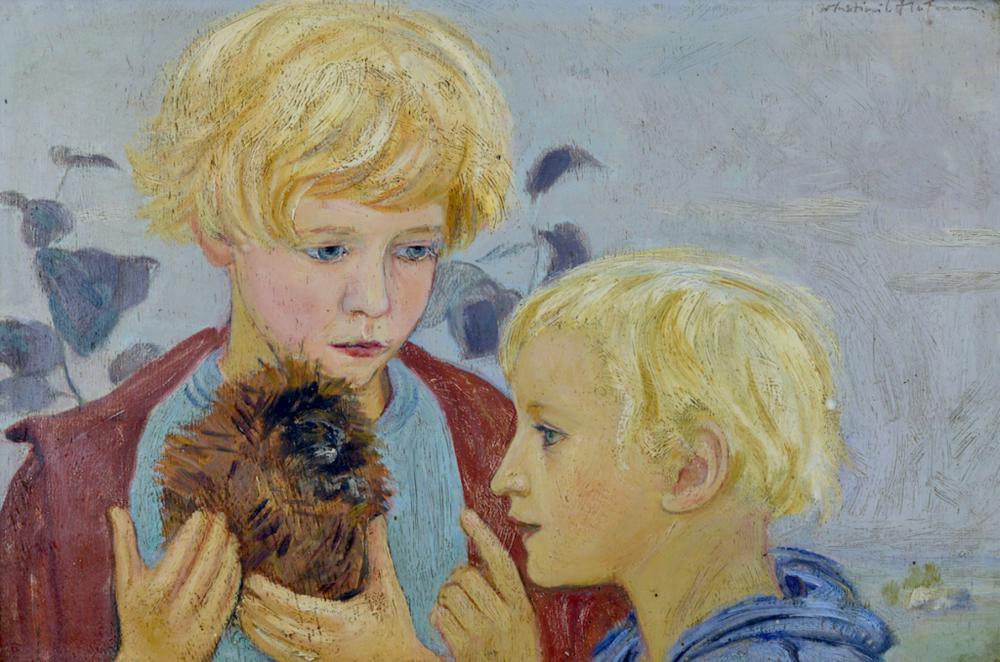 """Vlastimil Hofman (1881-1970) """"Dwaj chłopcy z jeżem"""", źródło: Art Torg"""