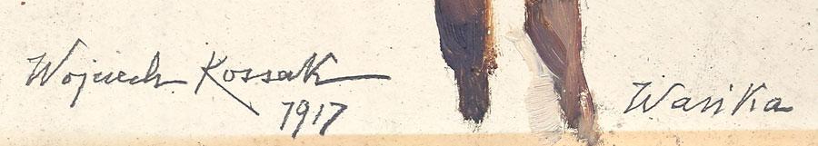 Oryginalna sygnatura Wojciecha Kossaka z pełnym imieniem i nazwiskiem pisana ołówkiem.