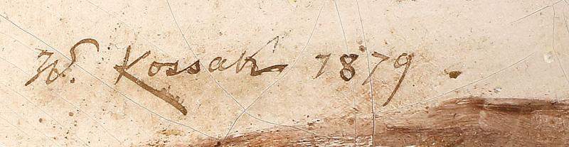 Oryginalna sygnatura Wojciecha Kossaka w postaci inicjału imienia i całego nazwiska pisana tuszem.