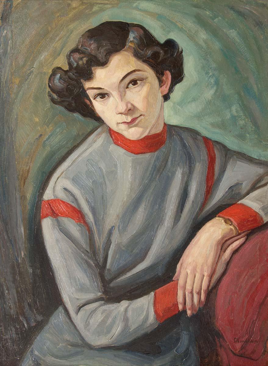 """Szymon Mondzain (1890-1979) """"Portret dziewczyny"""",  źródło: Accademia Fine Art"""