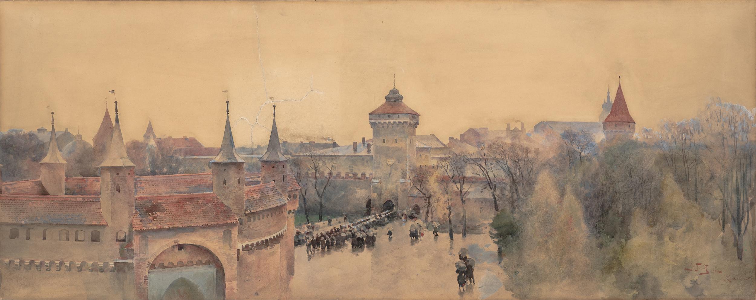 """Julian Fałat """"Widok Krakowa"""", 1896 rok, źródło: Muzeum Śląskie w Katowicach"""