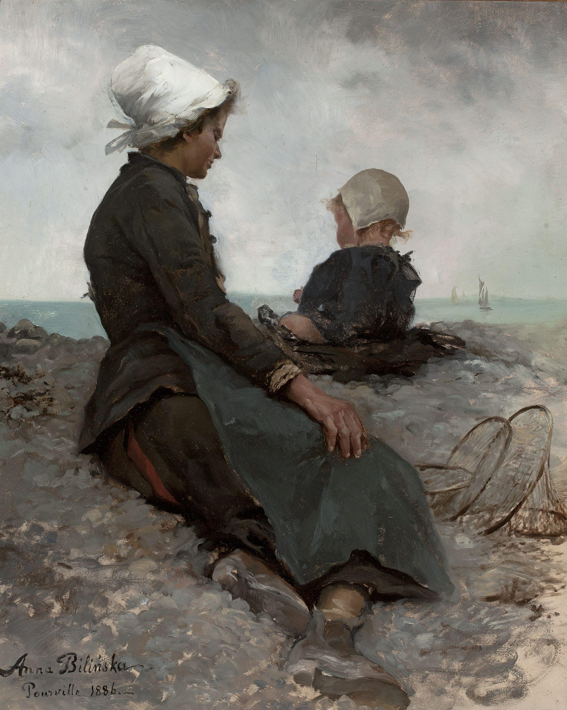 """Anna Bilińska-Bohdanowiczowa """"Nad brzegiem morza"""", 1886 rok, źródło: Muzeum Narodowe w Warszawie"""