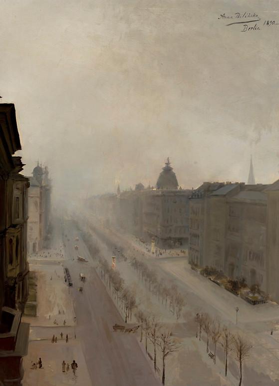 """Anna Bilińska-Bohdanowiczowa """"Ulica Unter der Linden w Berlinie"""", 1890 rok, źródło: Muzeum Narodowe w Warszawie"""