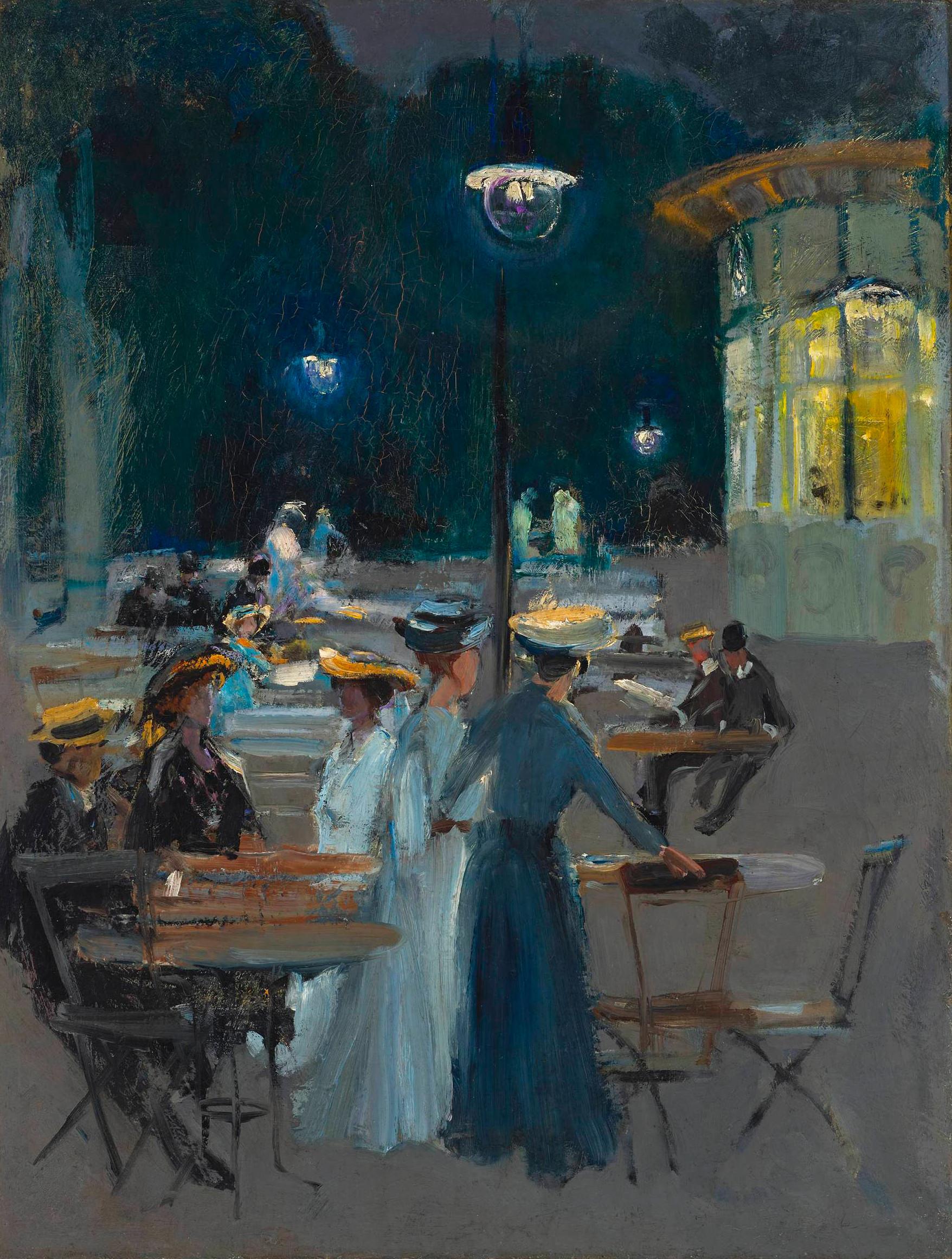 """Ludwik de Laveaux """"Kawiarnia paryska w nocy"""", źródło: Muzeum Narodowe w Warszawie"""