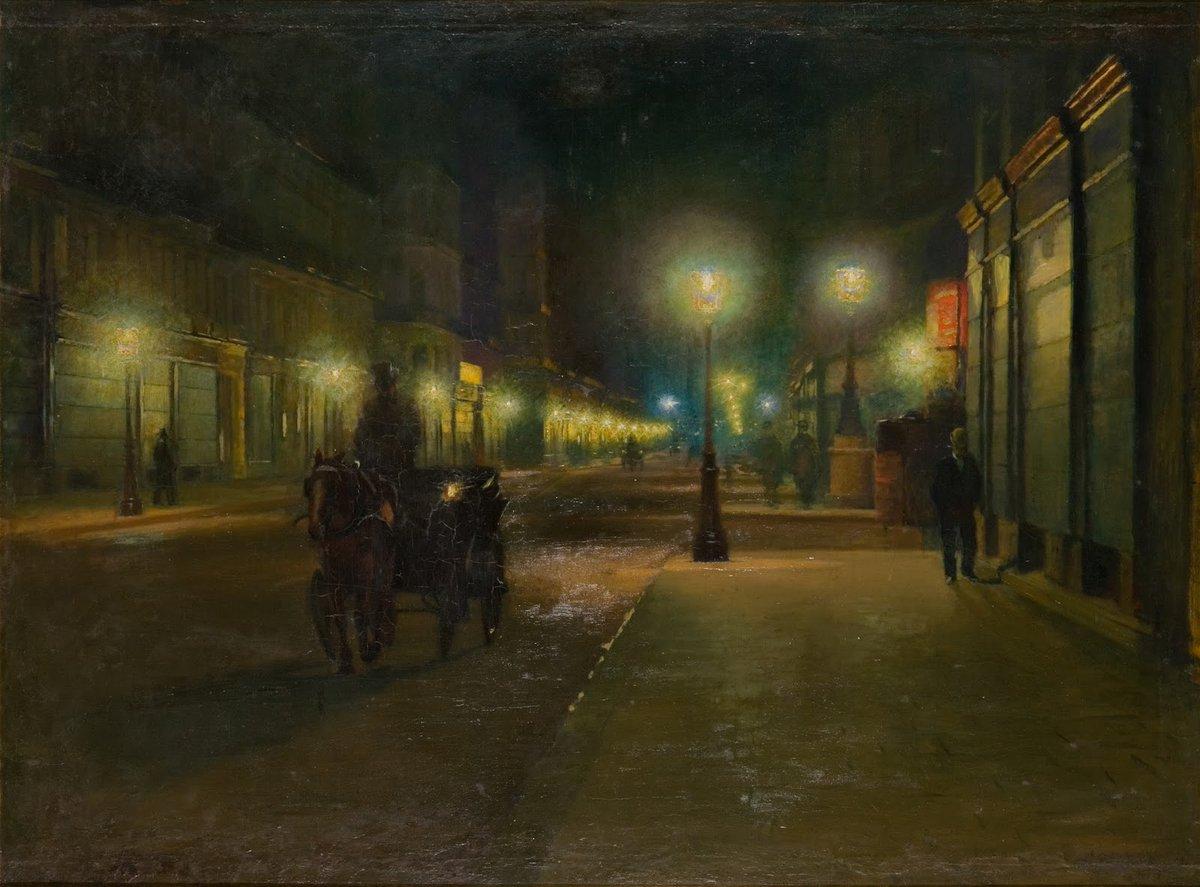 """Ludwik de Laveaux """"Ulica paryska w nocy"""", 1892-1893 rok, źródło: Muzeum Sztuki w Łodzi"""