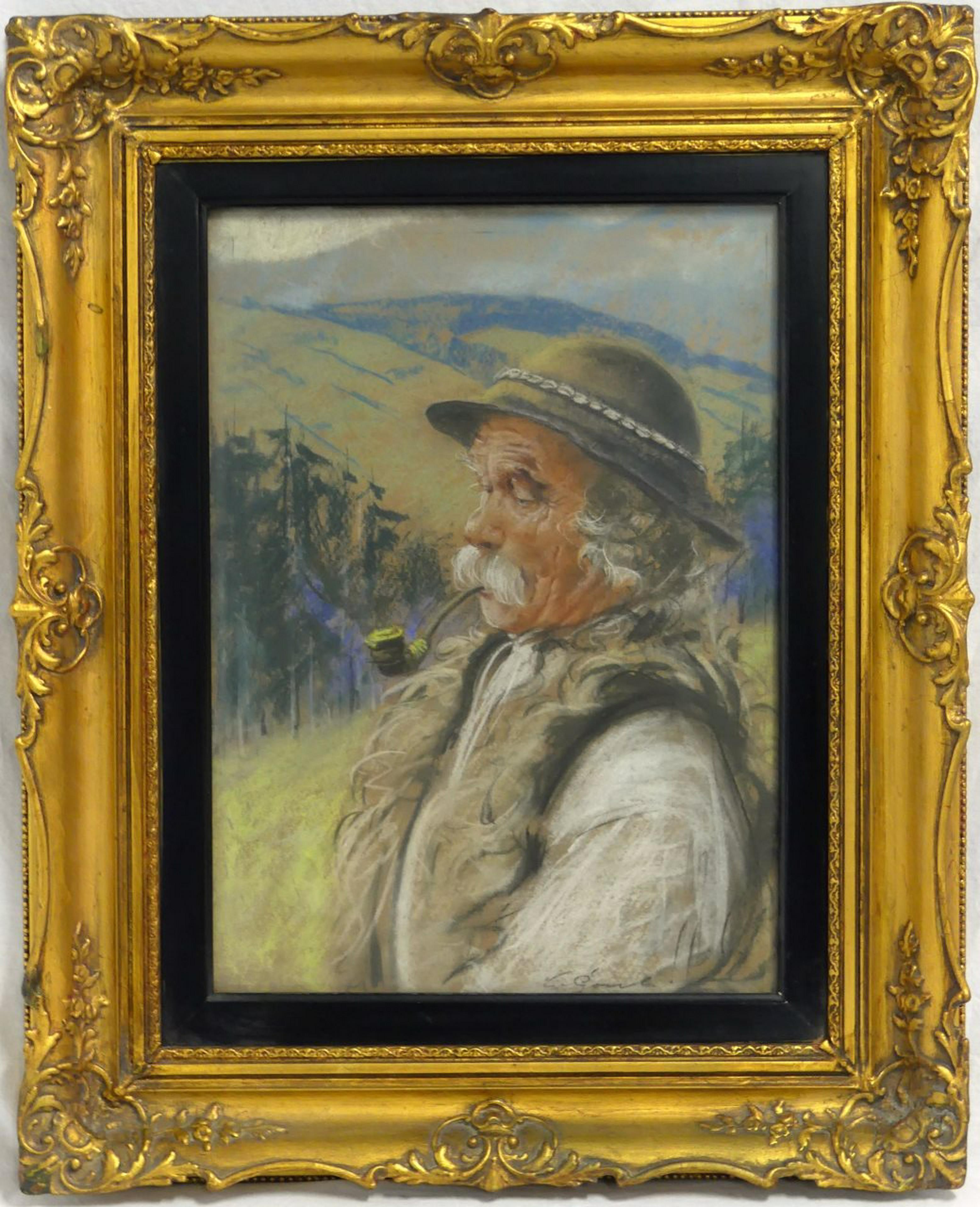 """Stanisław Górski (1887-1955) """"Góral z fajką"""", źródło: Antiques & Modern Auction Gallery"""