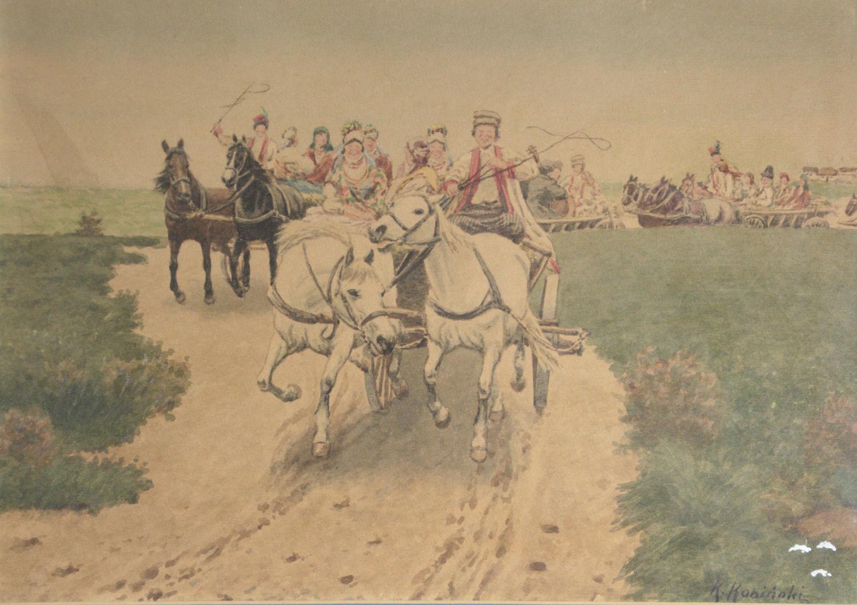 """Kajetan Kosiński (1847-1935) """"Krakowskie wesele"""", źródło: Netanya"""