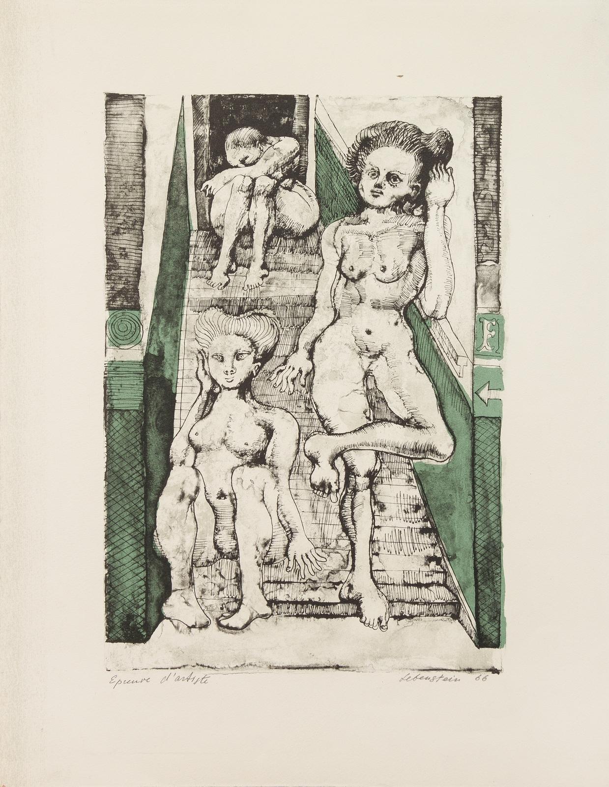 """Jan Lebenstein (1930-1999) """"Attente (Oczekiwanie)"""", źródło: Leslie Hindman"""