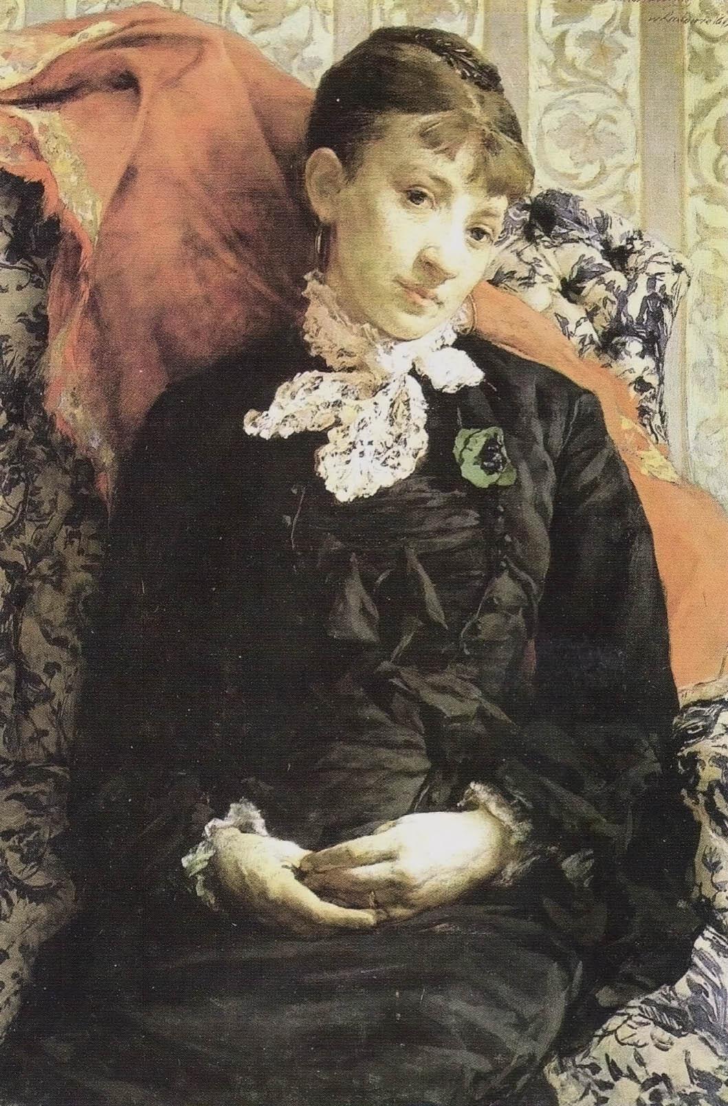 """Witold Pruszkowski """"Portret Stefanii Fedorowiczowej na otomanie"""", 1879 rok, źródło: Lwowska Galeria Sztuki"""