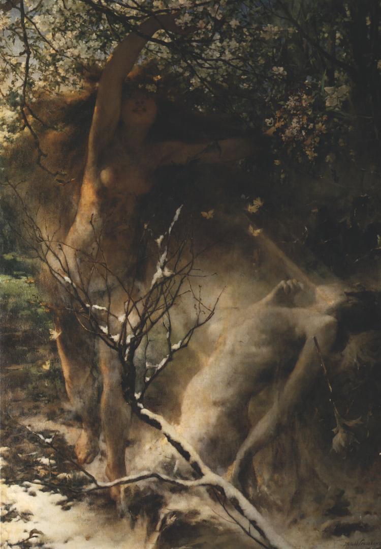 """Witold Pruszkowski """"Wiosna"""", 1887 rok, źródło: Lwowska Galeria Sztuki"""