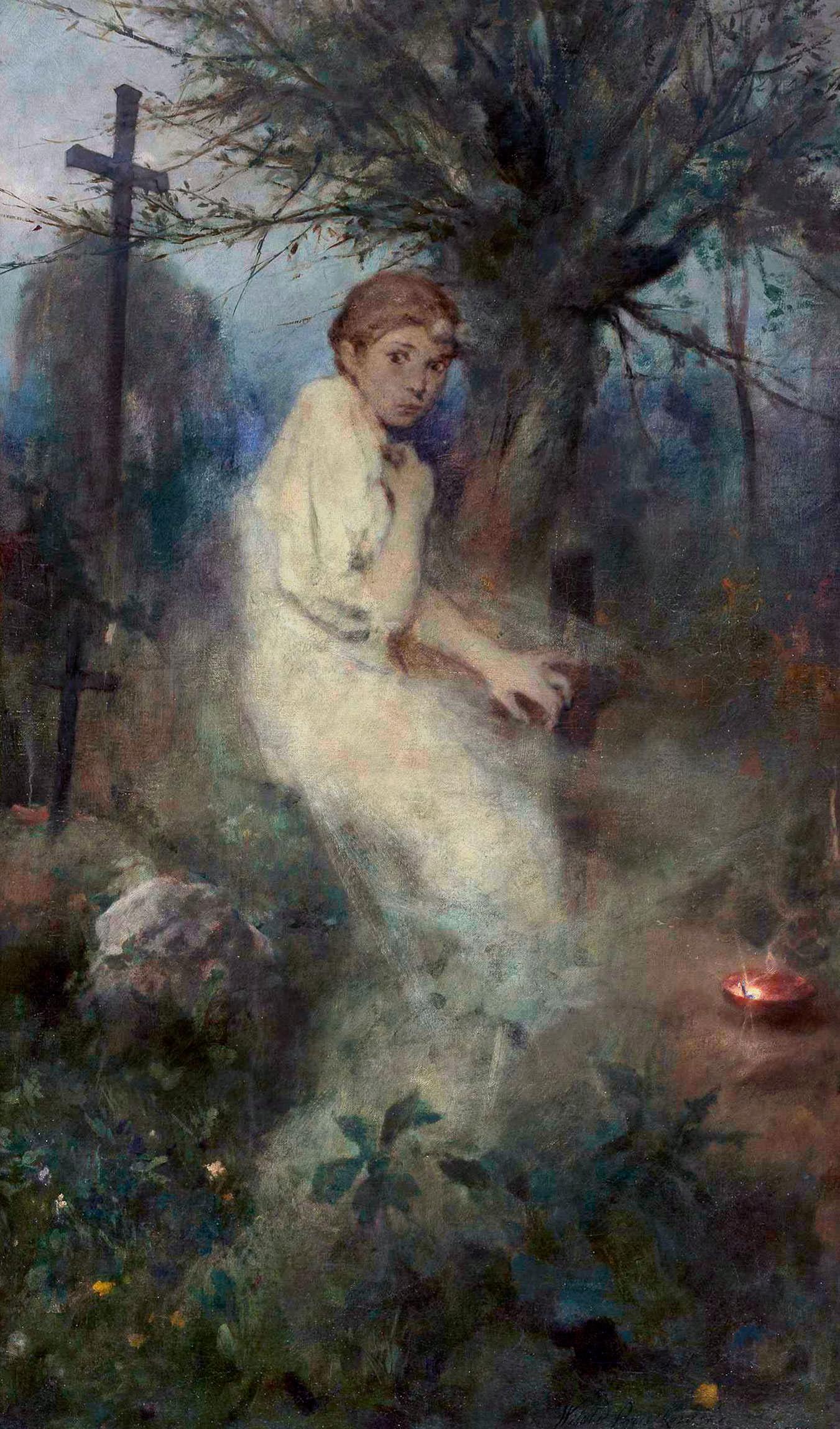 """Witold Pruszkowski """"Zaduszki"""", skrzydło tryptyku, 1888 rok, źródło: Muzeum Narodowe w Warszawie"""