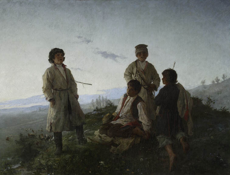 """Witold Pruszkowski """"Kiedy ranne wstają zorze"""", 1876 rok, źródło: Muzeum Narodowe w Warszawie"""