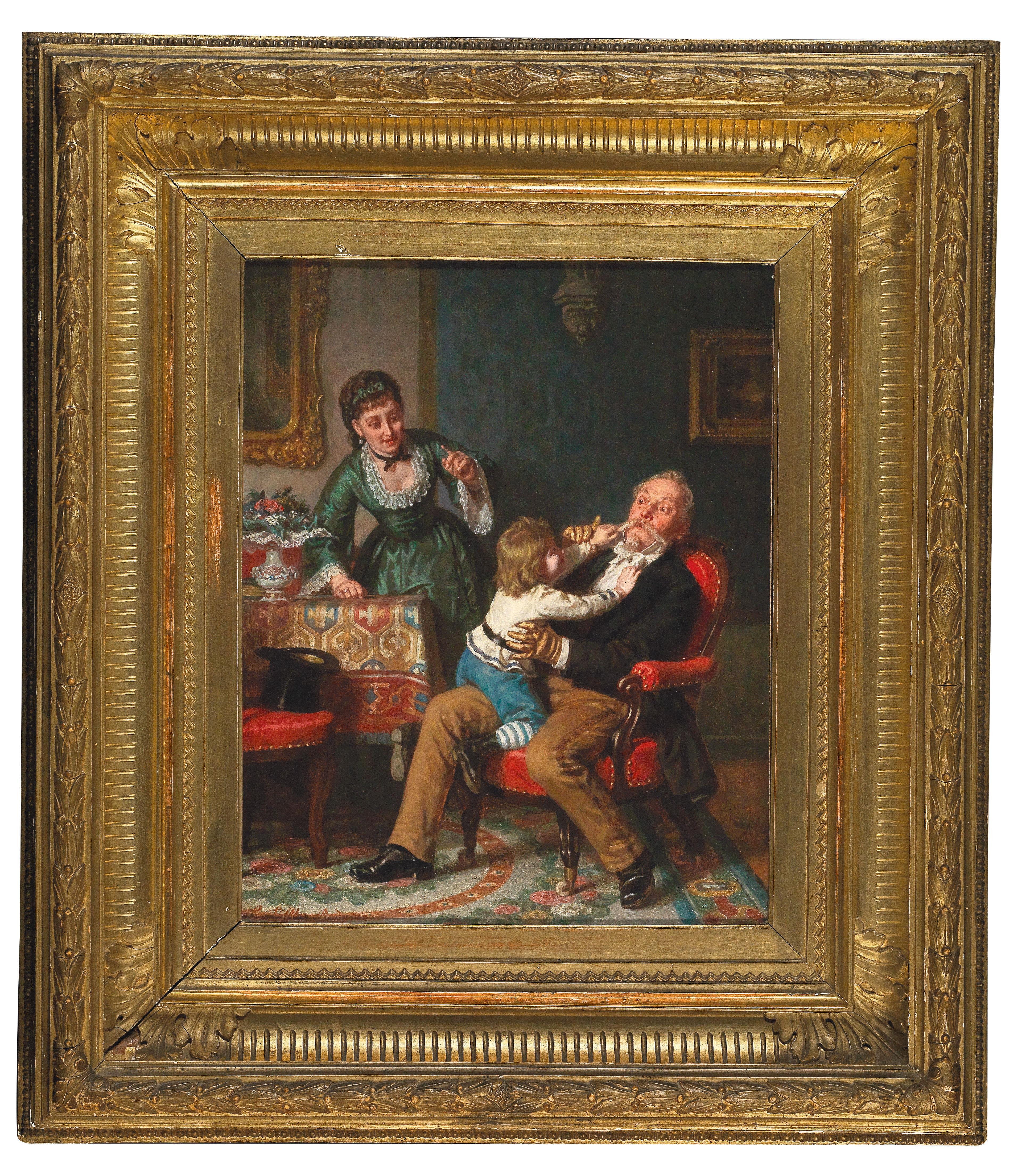"""Leopold Loeffler (1827-1898) """"Z wizytą u dziadka"""", źródło: Artcurial"""