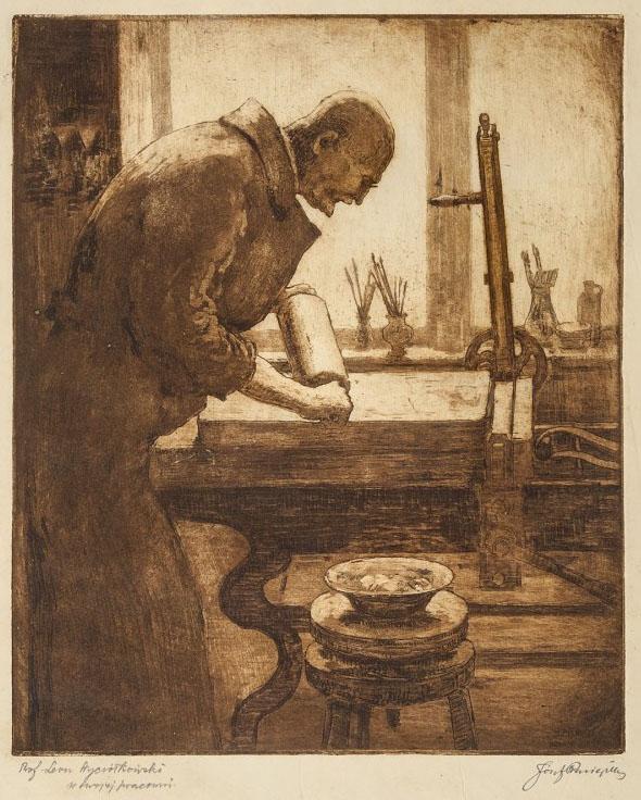"""Józef Pieniążek """"Profesor Leon Wyczółkowski w swojej pracowni"""", 1925 rok, źródło: Nautilus"""