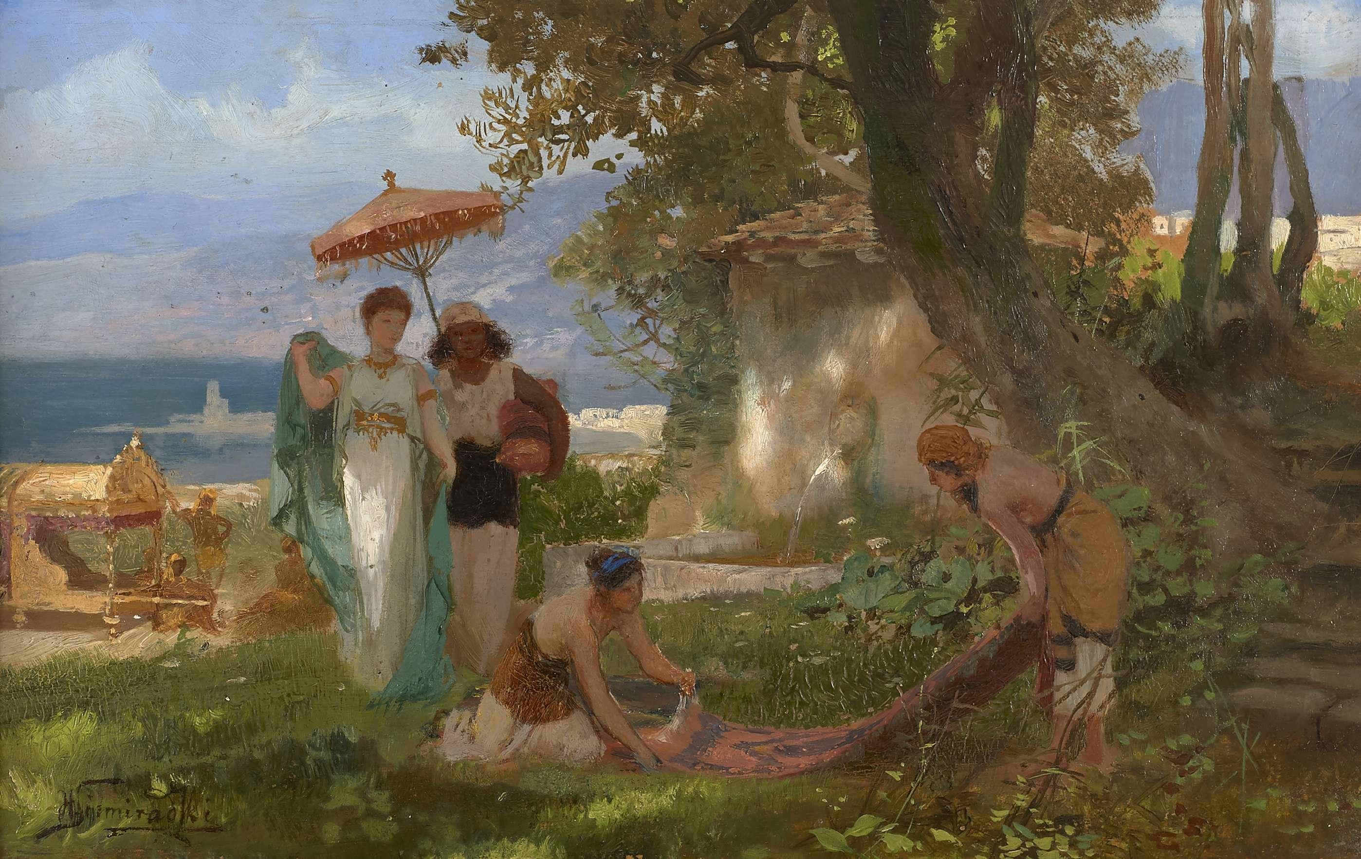 """Henryk Siemiradzki (1843-1902) """"Scena antyczna"""", źródło: Artcurial"""