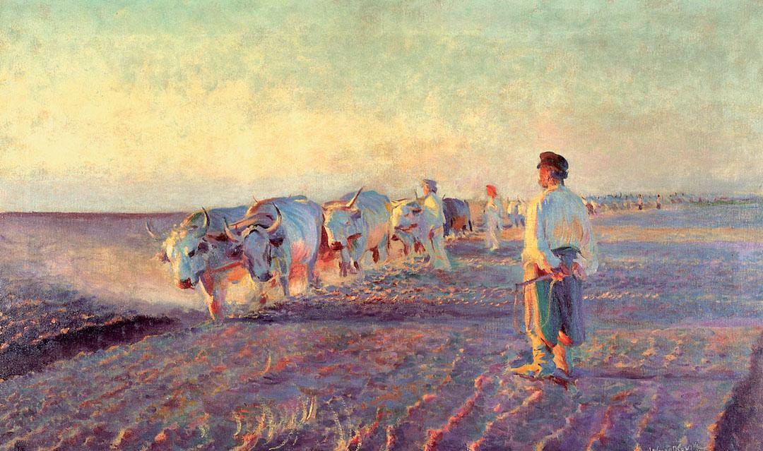 """Leon Wyczółkowski """"Orka na Ukrainie"""", 1892 rok, źródło: Muzeum Narodowe w Krakowie"""