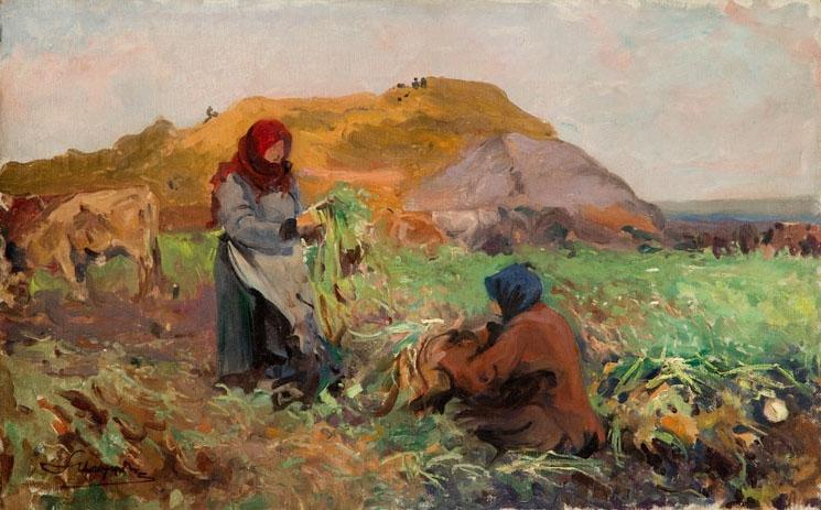 """Leon Wyczółkowski """"Pielenie"""", 1911 rok, źródło: Desa Unicum"""
