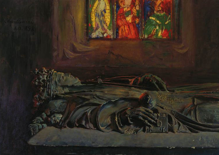 """Leon Wyczółkowski """"Sarkofag królowej Jadwigi"""", 1898 rok, źródło: Muzeum Narodowe w Warszawie"""