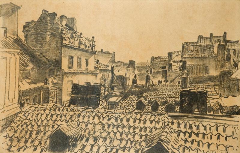 """Leon Wyczółkowski """"Dachy kamienic (Stara Warszawa)"""", 1916 rok, źródło: Desa Unicum"""