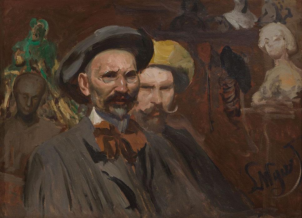"""Leon Wyczółkowski """"Autoportret z Konstantym Laszczką"""", ok. 1901 roku, źródło: Muzeum Narodowe w Krakowie"""