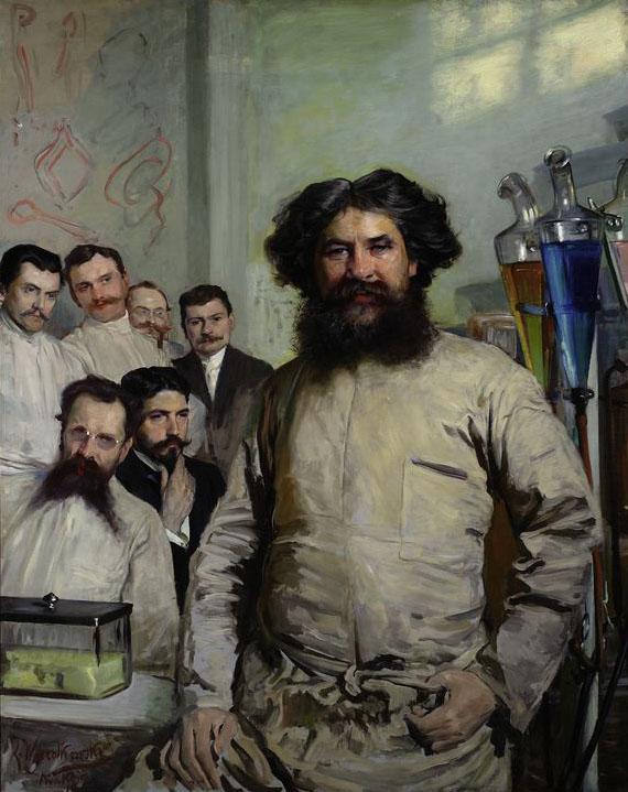 """Leon Wyczółkowski """"Portret dr Ludwika Rydygiera z asystentami """", 1897 rok, źródło: Muzeum Narodowe w Warszawie"""