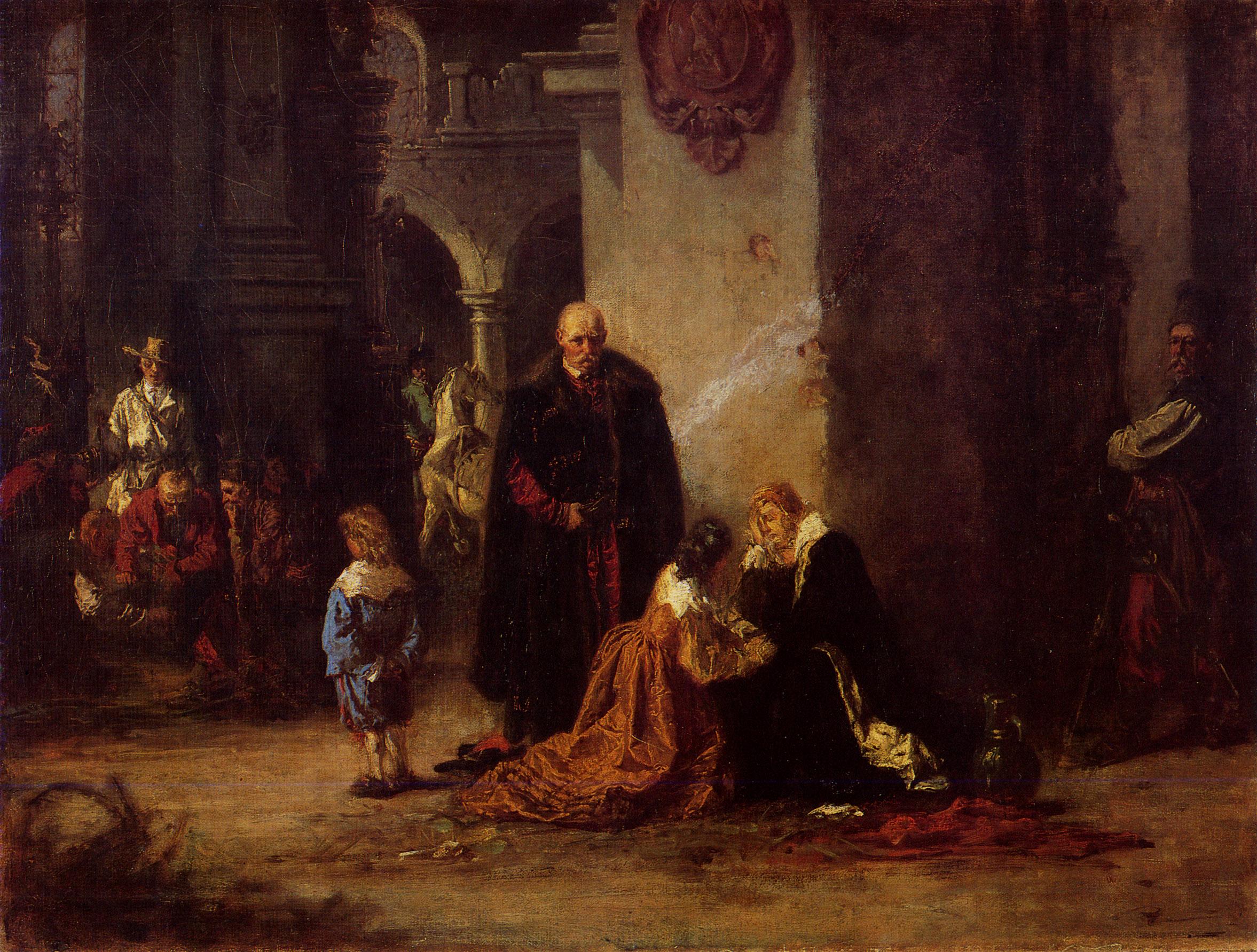 """Wilhelm Leopolski """"W niewoli kozackiej"""", 1876 rok, źródło: Lwowska Galeria Sztuki"""