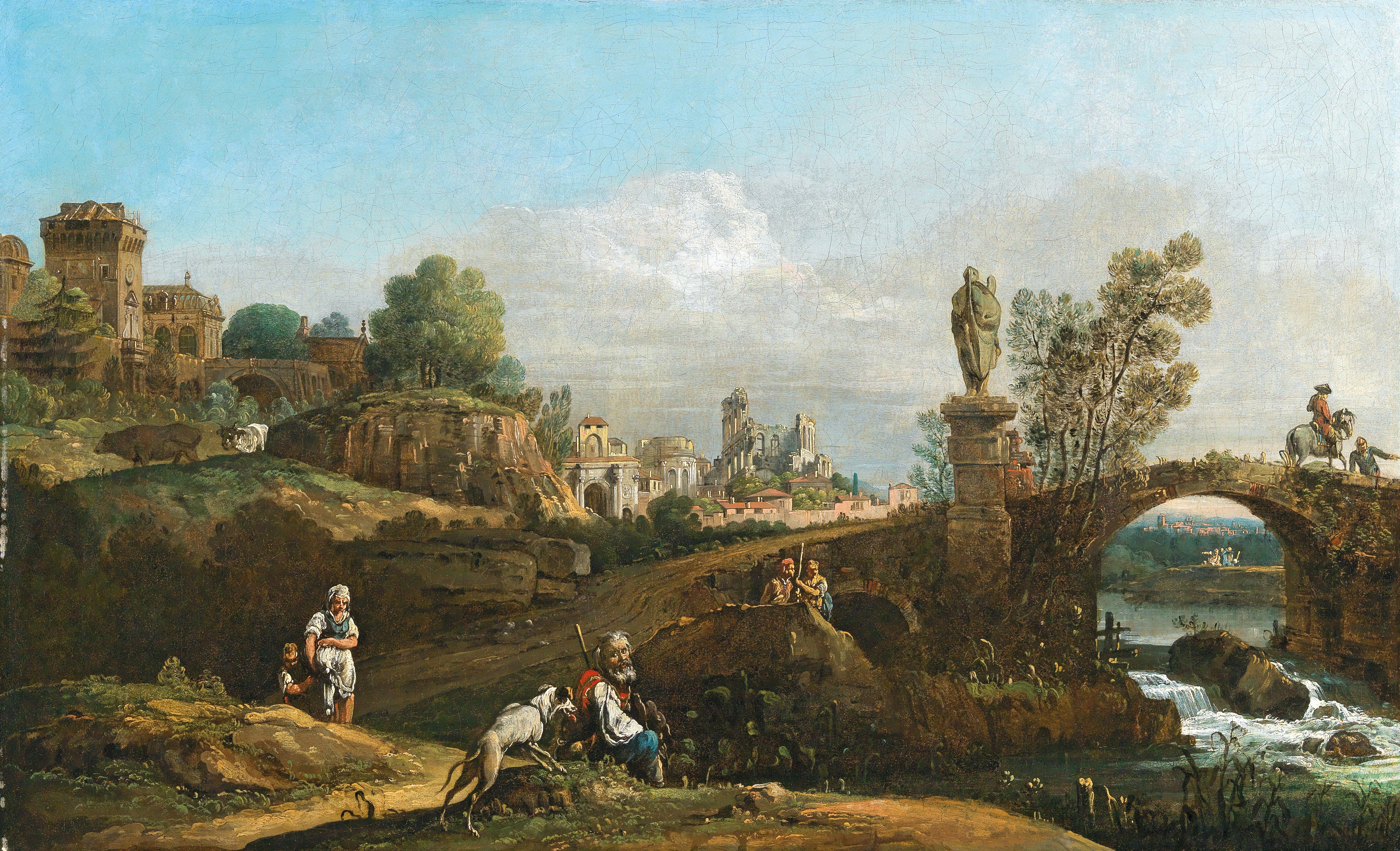 """Bernardo Bellotto, zwany Canalletto (1721-1780) """"Fantazyjny pejzaż z ruinami i panoramą Drezna"""", źródło: Dorotheum"""