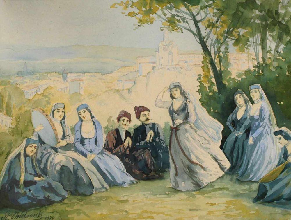 """Stanisław Chlebowski (1835-1884) """"Scena orientalna"""", źródło: Auktionshaus Mehlis"""