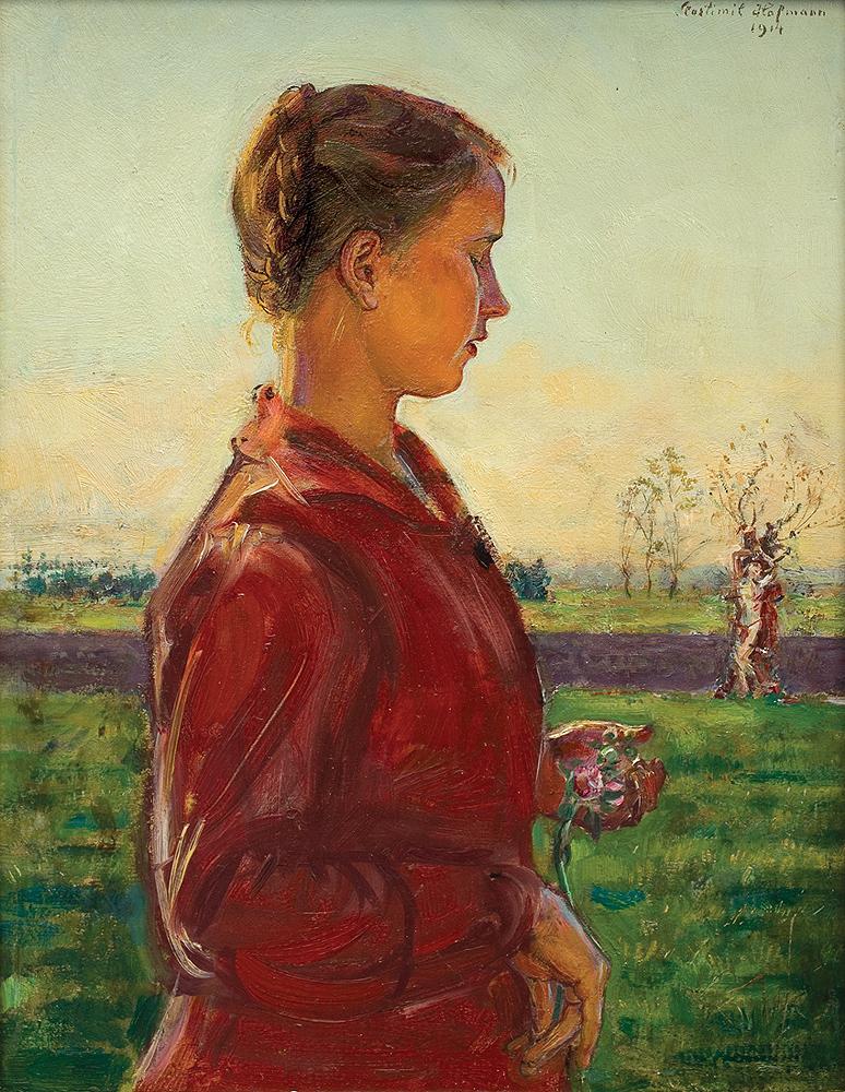 """Wlastimil Hofman """"Dziewczyna w pejzażu ze św. Sebastianem"""", 1914 rok, źródło: Agra-Art"""