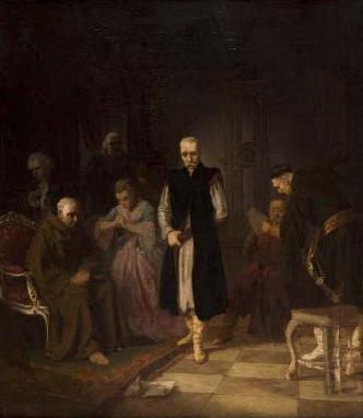"""Wilhelm Leopolski """"Straszna wiadomość"""", 1860 rok, źródło: Desa Unicum"""