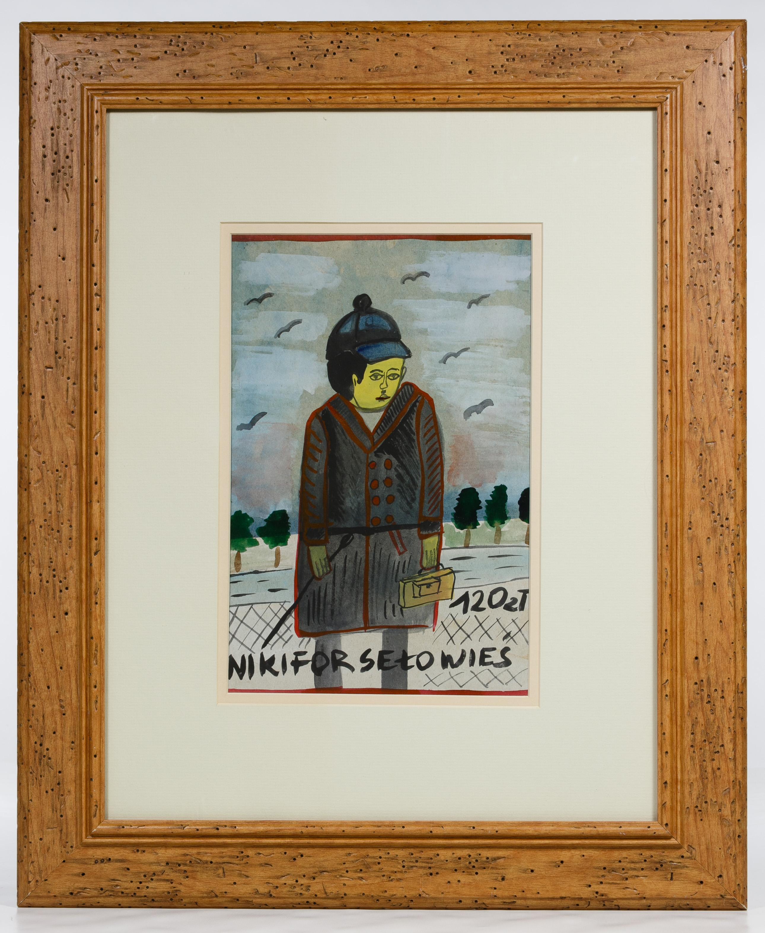 """Nikifor (1895-1968) """"Chłopiec"""", źródło: Leonard Auction"""