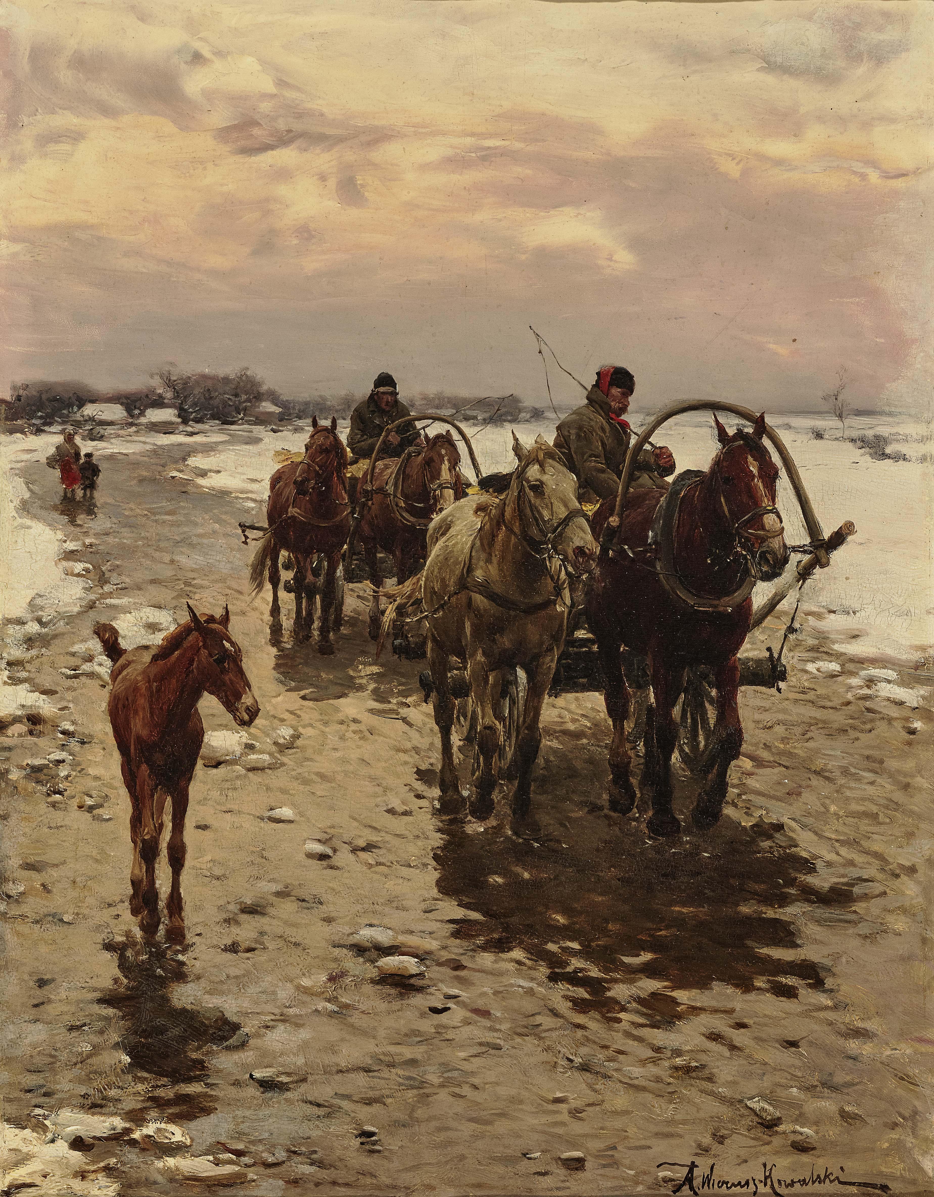 """Alfred Wierusz-Kowalski (1849 -1915) """"Powrót"""", źródło: Neumeister"""