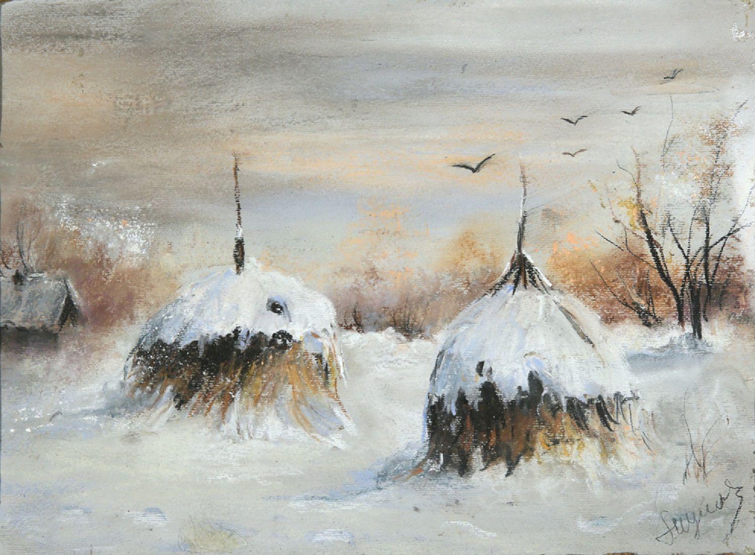 """Leon Wyczółkowski (1852-1936) """"Stogi w śniegu"""", źródło: Trinity International Auctions & Appraisals"""