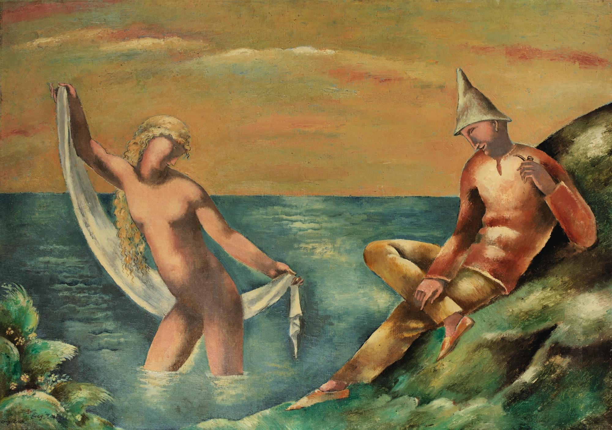 """Eugeniusz Zak (1884-1926) """"Ondyna i wędrowny muzykant (L'Ondine et le Pifferaro)"""", źródło: Sotheby's"""