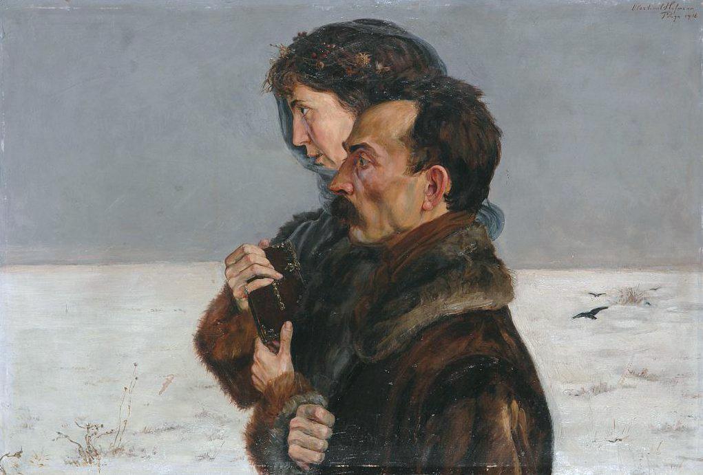 """Wlastimil Hofman """"Autoportret z przyszłą żoną"""", 1916 rok, źródło: kolekcja Krzysztofa Musiała"""