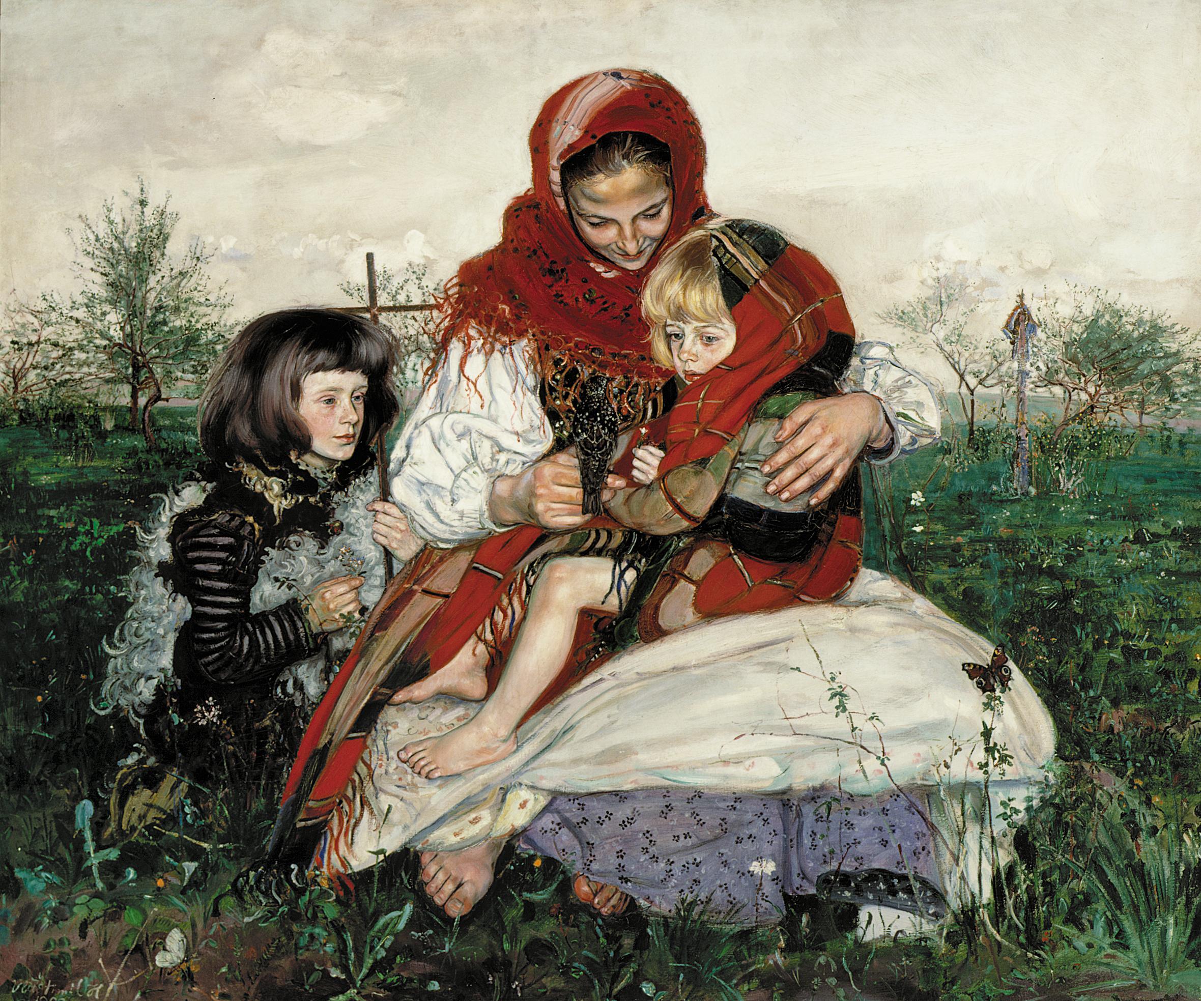 """Wlastimil Hofman """"Madonna ze szpakiem"""", 1909 rok, źródło: Muzeum Narodowe w Poznaniu"""