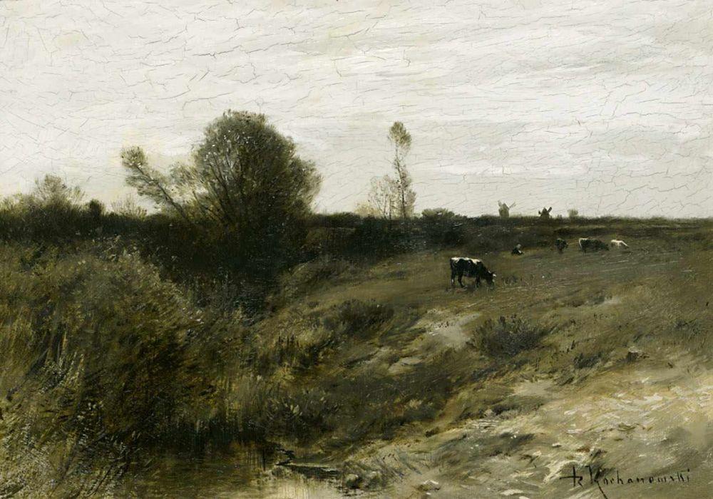 """Roman Kochanowski (1856-1945) """"Pejzaż z krowami"""", źródło: Scheublein Art & Auktionen"""