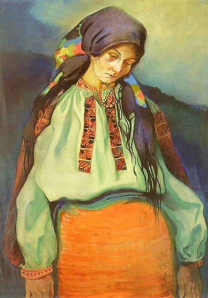 """Kazimierz Sichulski """"Hucułka"""", 1913 rok, źródło: Muzeum Narodowe we Wrocławiu"""