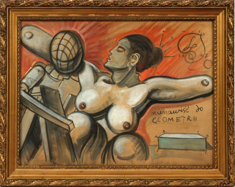 """Franciszek Starowieyski (1930-2009) """"Nienawiść do geometrii"""", źródło: DuMouchelles"""
