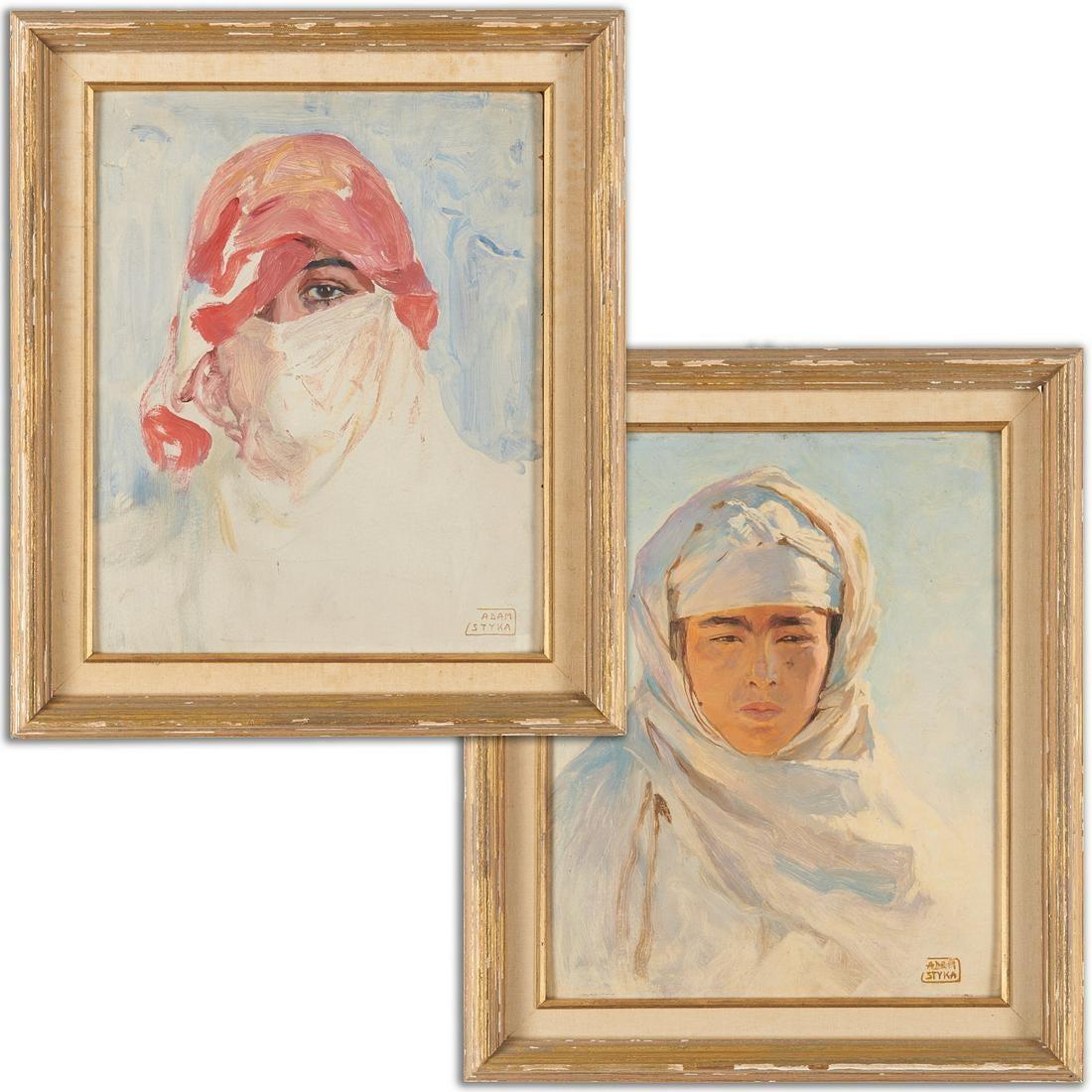 """Adam Styka (1890-1959) """"Para portretów orientalnych"""", źródło: Millea Bros Ltd"""
