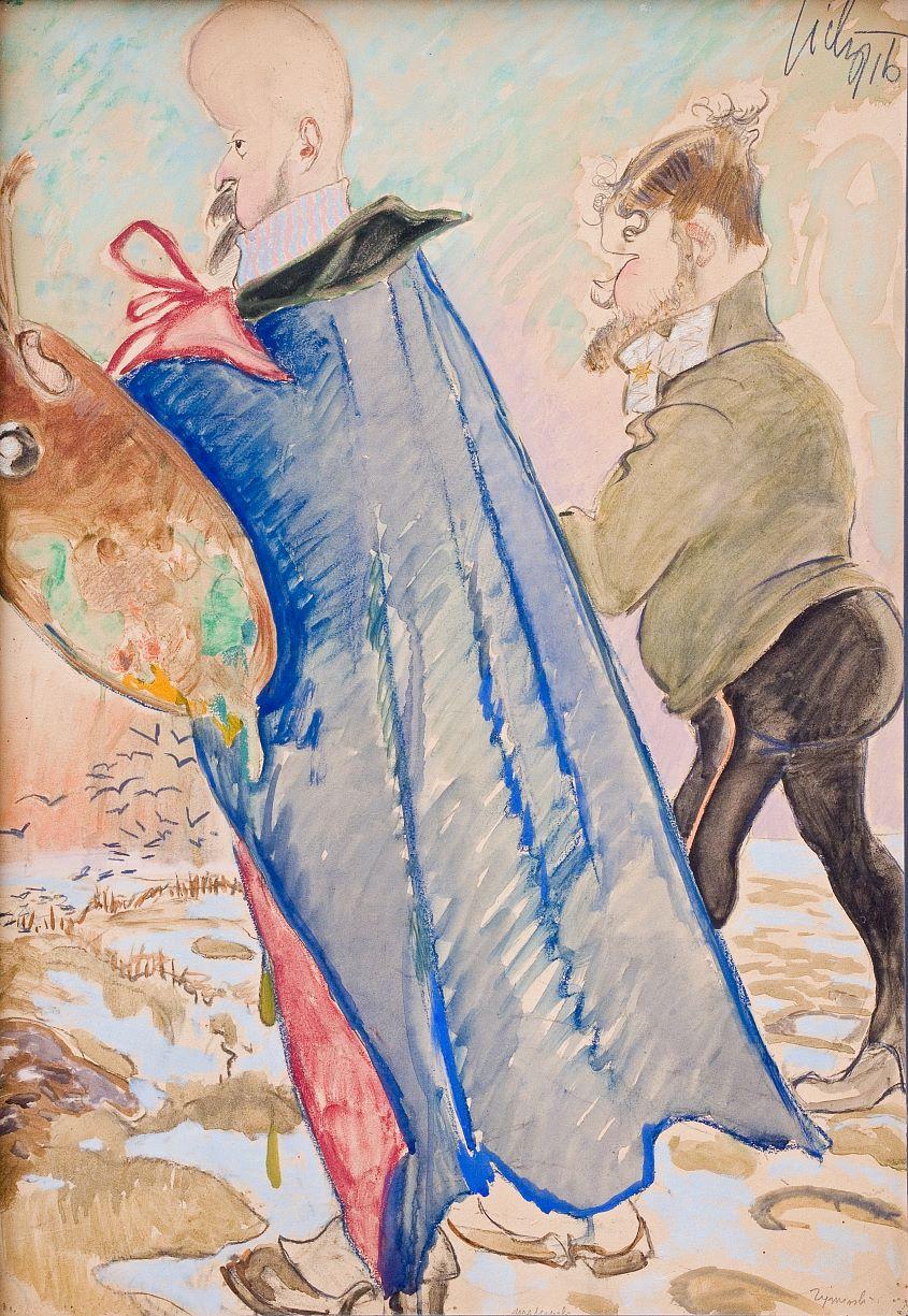 """Kazimierz Sichulski """"Jacek Malczewski"""", 1916 rok, źródło: Muzeum Tatrzańskie w Zakopanem"""