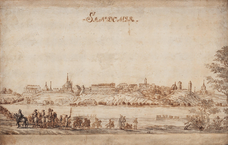 "Magnus Rommel (1678-1735) ""Widok Sandomierza"", źródło: Bukowski"