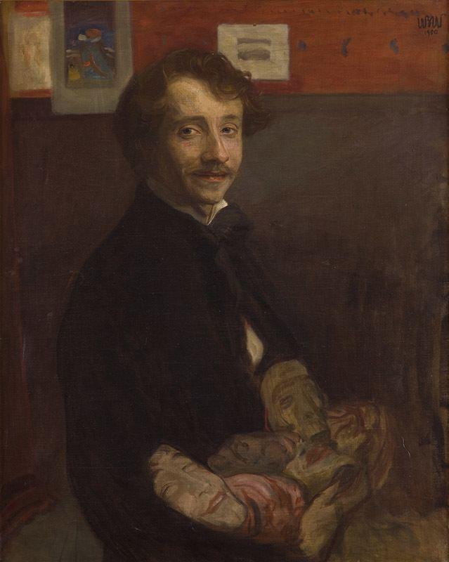 """Wojciech Weiss """"Autoportret z maskami"""", 1900 rok, źródło: Muzeum Narodowe w Krakowie"""