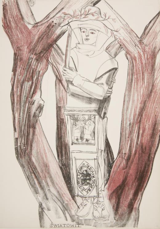 """Zofia Stryjeńska """"Światowid"""" z teki """"Bożki słowiańskie"""", 1918 rok, źródło: Muzeum Narodowe w Krakowie"""
