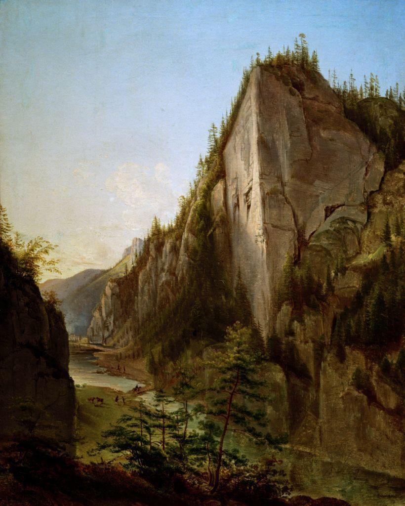 """Jan Nepomucen Głowacki """"Widok Doliny Kościeliskiej w Tatrach"""", 1840 rok, źródło: Muzeum Narodowe we Wrocławiu"""