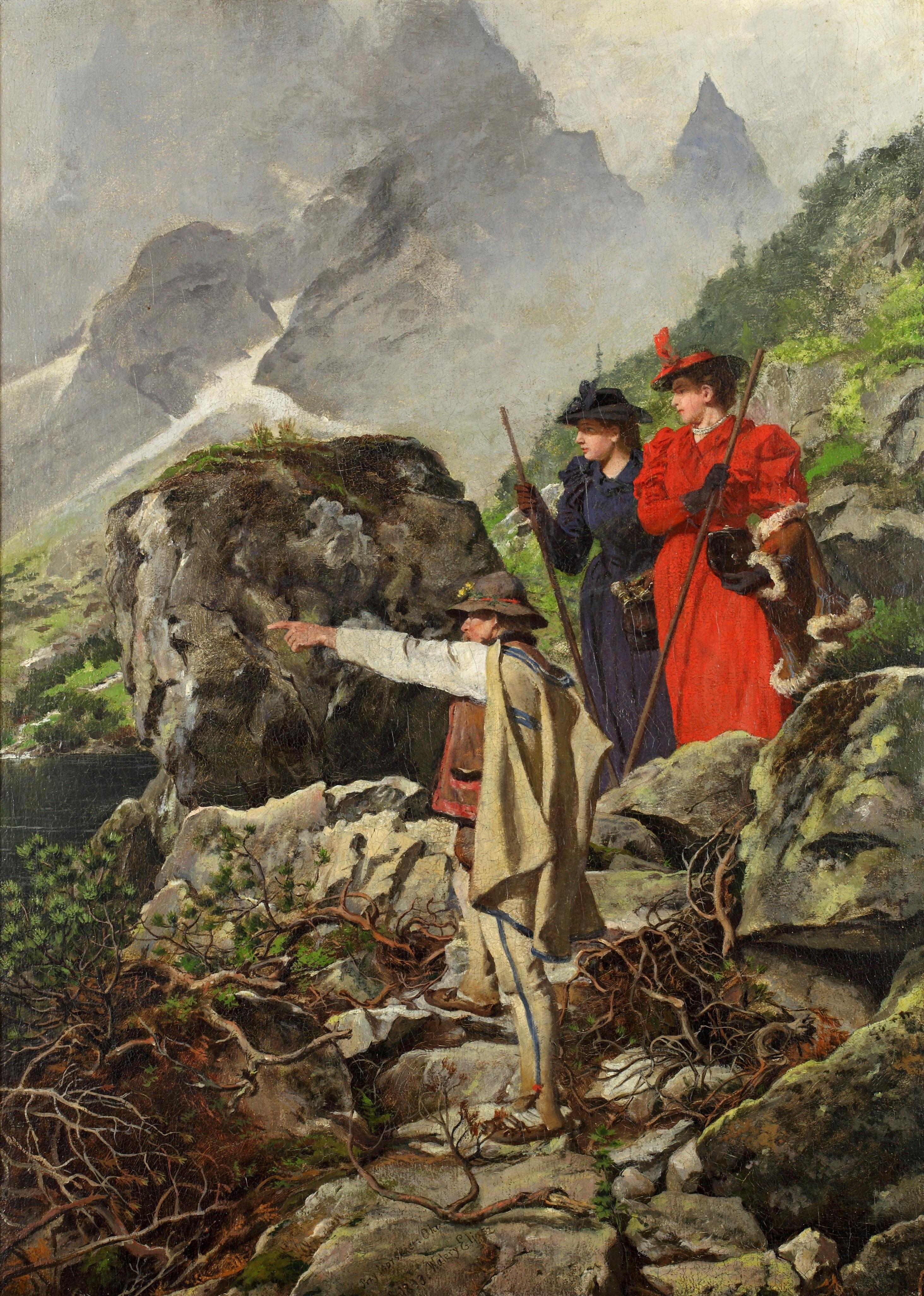 """Walery Eljasz Radzikowski """"Przy Morskim Oku"""", 1893 rok, źródło: Muzeum Tatrzańskie w Zakopanem"""