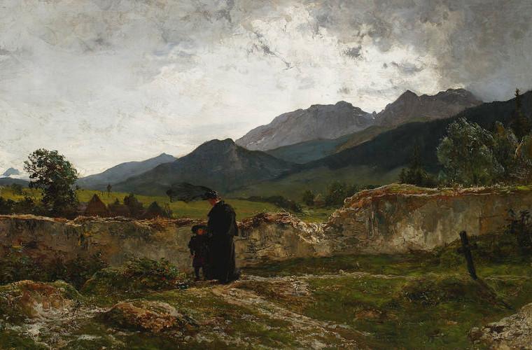 """Wojciech Gerson """"Cmentarz w górach"""", 1894 rok, źródło: Muzeum Narodowe w Warszawie"""