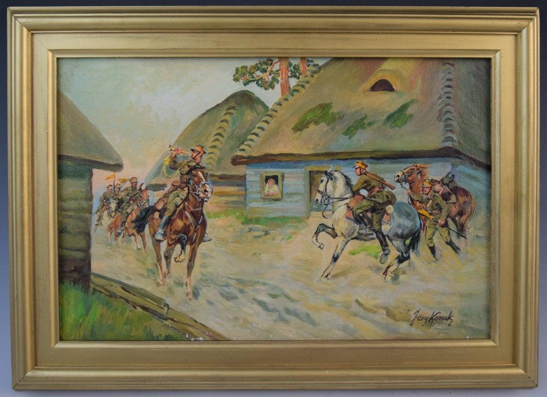 """Jerzy Kossak (1886-1955) """"Alarm bojowy"""", źródło: Black River Auction"""